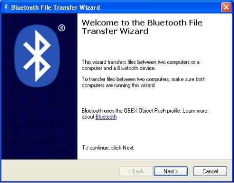 Hidden Bluetooth File Transfer Wizard in XP